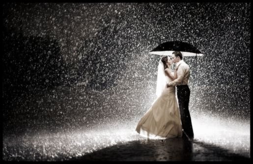 wedding in the rain.