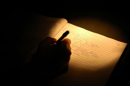 writing in darkness