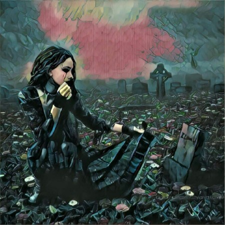 girl at grave.