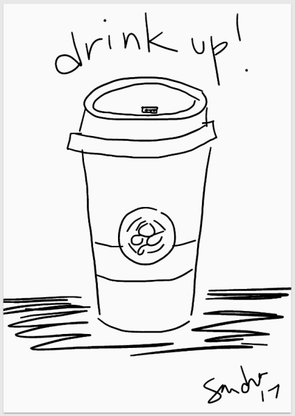 coffee phone doodle